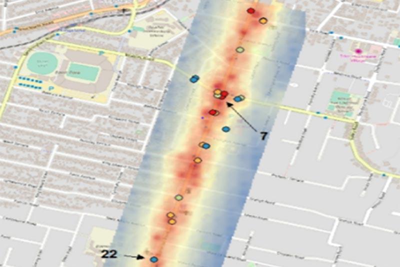 Urban road air monitoring network
